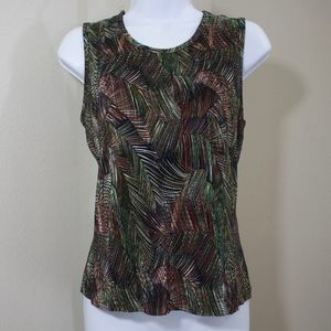 sleeveless top fall colors green red white ribbed